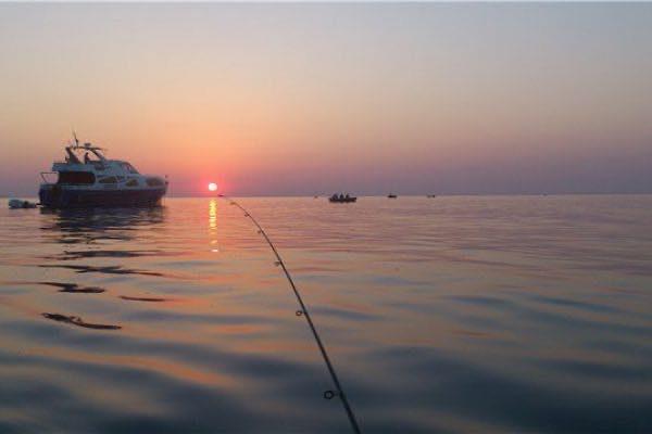 Морская рыбалка с катера (утром)